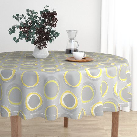 Round Tablecloth Solar Gray Yellow Celestial Modern Eclipse Mid Cotton Sateen