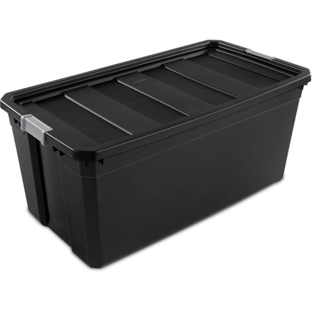 Sterilite 50 Gallon Stacker Tote  Rich Black  Case Of 3