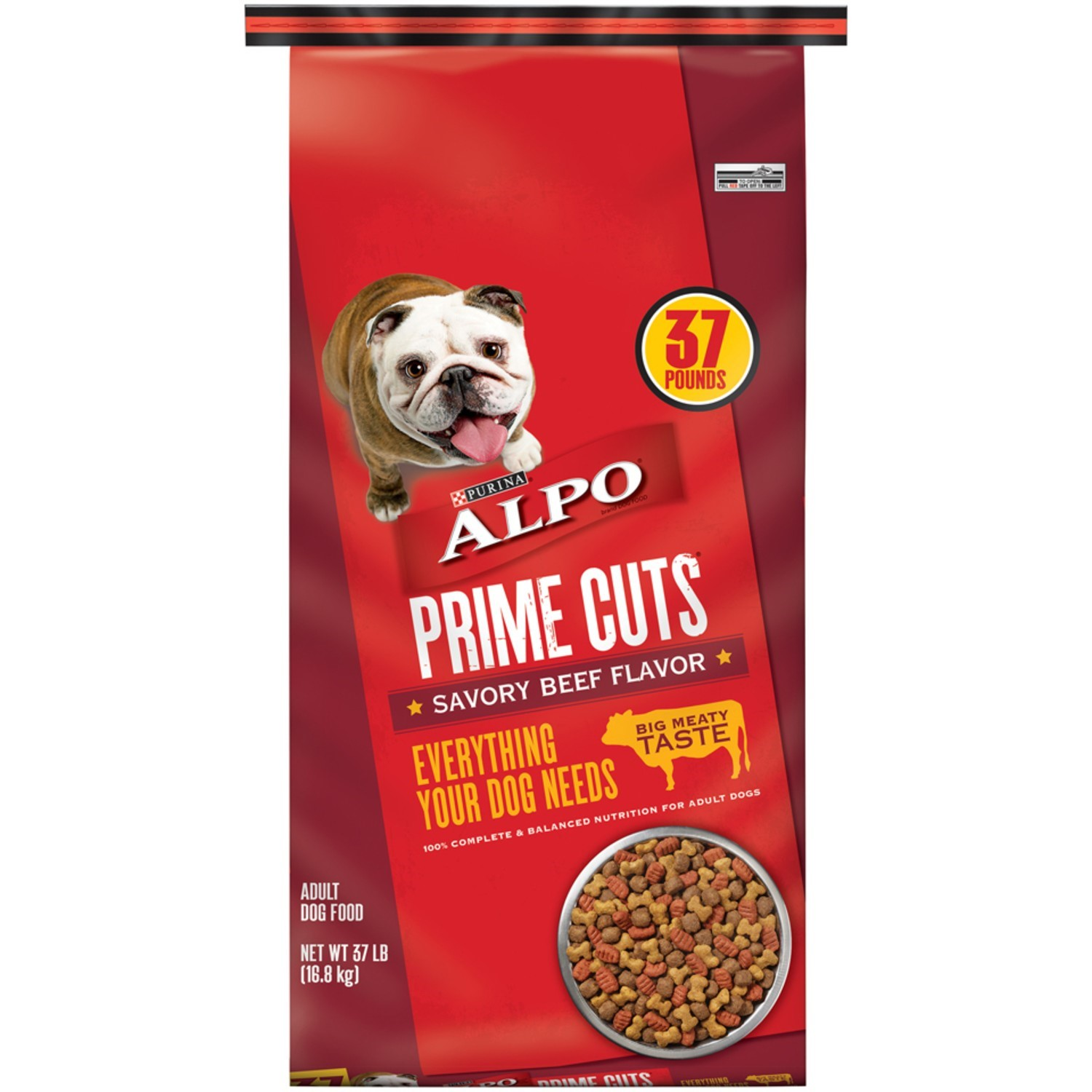 Purina Alpo Prime Cuts Savory Beef Flavor Dry Dog Food, 37 Lb.