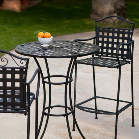 Belham Living Wrought Iron Bar Height Bistro Set by Woodard ()