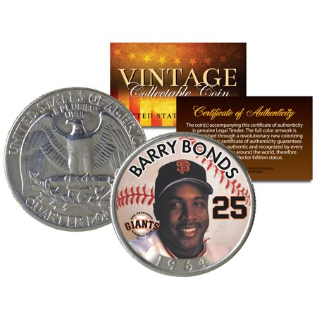 - BARRY BONDS Colorized 1964 Silver Quarter U.S. Coin * Birth Year * Legal Tender