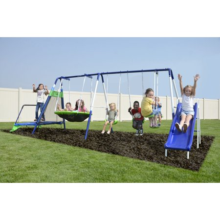 Sportspower Mountain View Metal Swing Set with Glide Ride