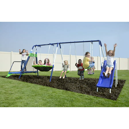 Sportspower Mountain View Metal Swing Set with Glide Ride, Saucer, Trampoline, and 6ft Heavy Duty Slide ()