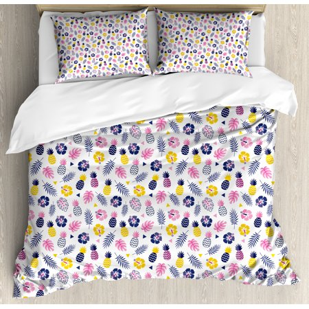 Navy And Blush Duvet Cover Set Tropical Nature Cute Pattern