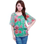 Flower Print Elastic Scoop Neck Chiffon Blouse for Women