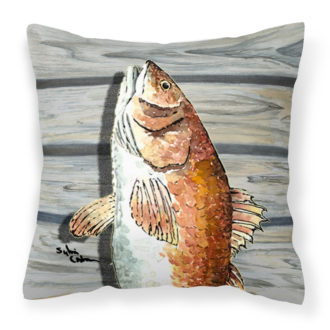 Red Fish Fabric Decorative Pillow 8489PW1414