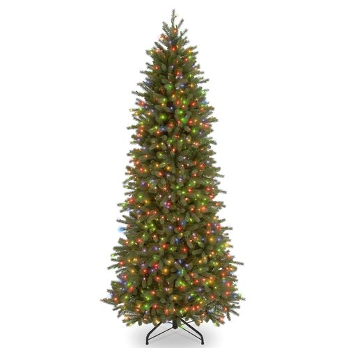 "National Tree Pre-Lit 7-1/2' ""Feel-Real"" Jersey Fraser Pencil Slim Fir Hinged Artificial Christmas Tree with 650 Multi Lights, UL"
