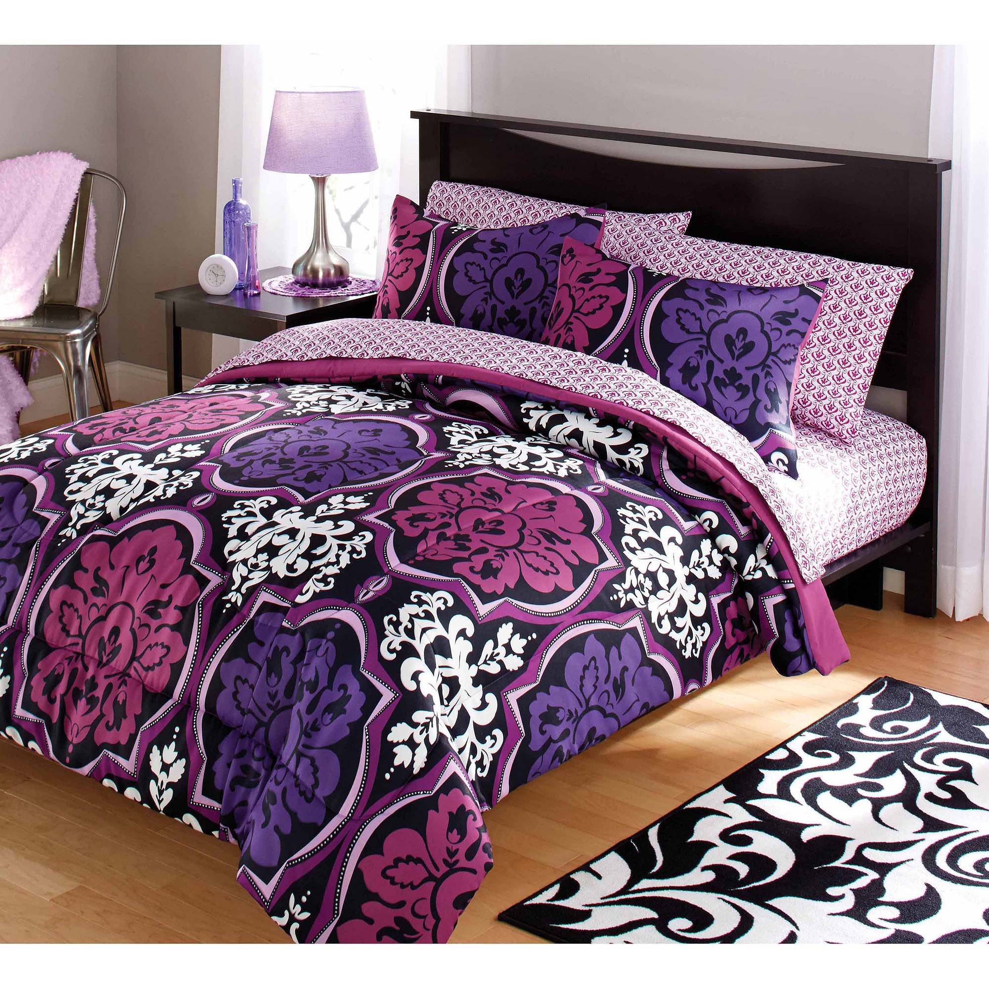 Your Zone Dotted Damask Bedding Comforter Set, Purple   Walmart.com