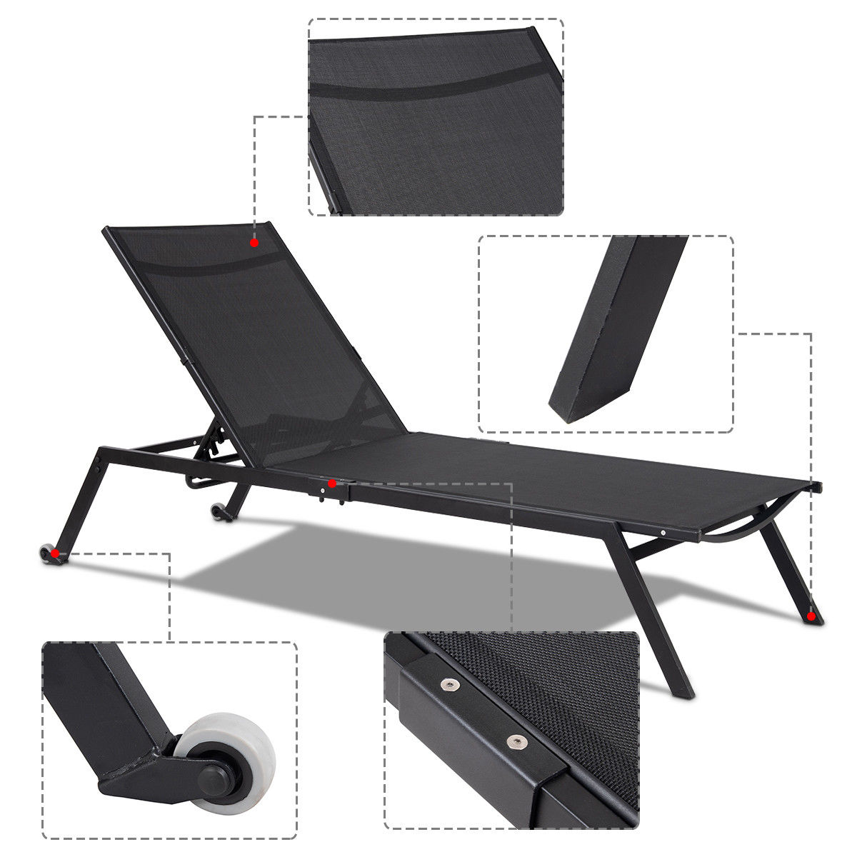 Costway Patio Beach Chaise Lounge Sling Armless Chaise Height Adjustable Black - image 3 of 10