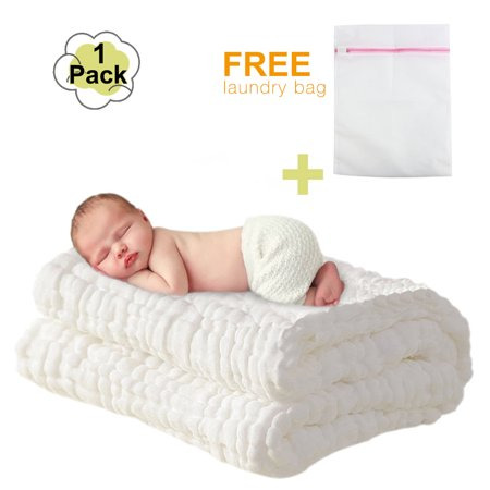 Baby Towels -- Muslin Baby Bath Towel and Blanket for Newborn Infants, 100% Medical Grade Natural Antibacterial Cotton for Sensitive Skin, Super Soft Cotton Gauze -- Best Mothercare