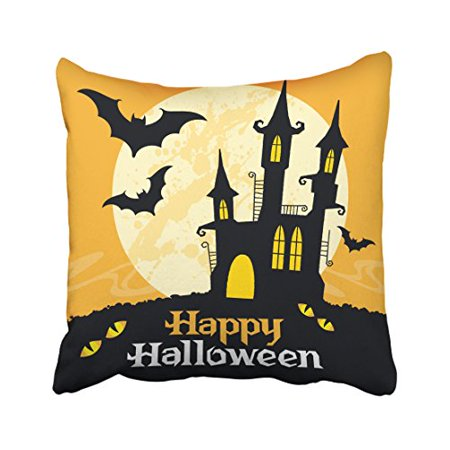 WinHome Happy Halloween Castle Black Bat Cat Eyes Decorative Pillow Cover With Hidden Zipper Decor Cushion Two Sides 18x18 inches - Cat Eyes Window Halloween