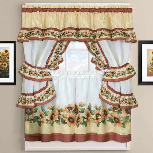 Attrayant Sweet Home Collection Sunflower Cottage Kitchen Curtains