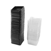 Festival Plastic Square Moon Cake Cupcake Box Container Holder Cover Black 50pcs