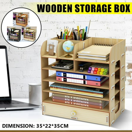 Multilayer Wooden Cosmetic Storage Box, Desktop Table Container Collection Storage Box Shelves Rack for Office Home ()