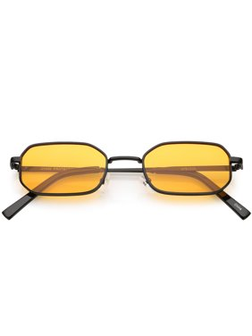 5533f96399d Product Image Extreme Small Thick Metal Rounded Rectangle Sunglasses Color  Tinted Flat Lenses 48mm (Black   Orange. sunglass.la