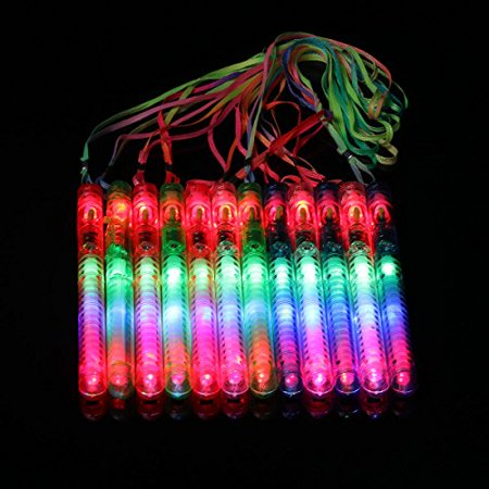 Ezerbery 12 pcs LED Party Favor Glow Wands Multicolor Flashing Toys Concert Props (8 inch long, flashing 7 modes)