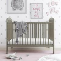 Baby Relax Emelia 3-in-1 Convertible Baby Crib, Coastal Gray