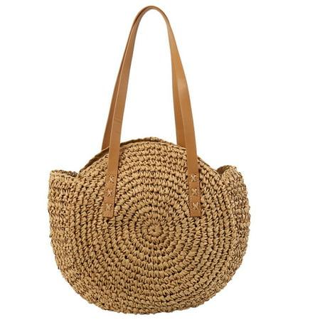 Women Girls Rattan Straw Bag Woven Round Handbag Shoulder Bag Beach Summer Bags ()