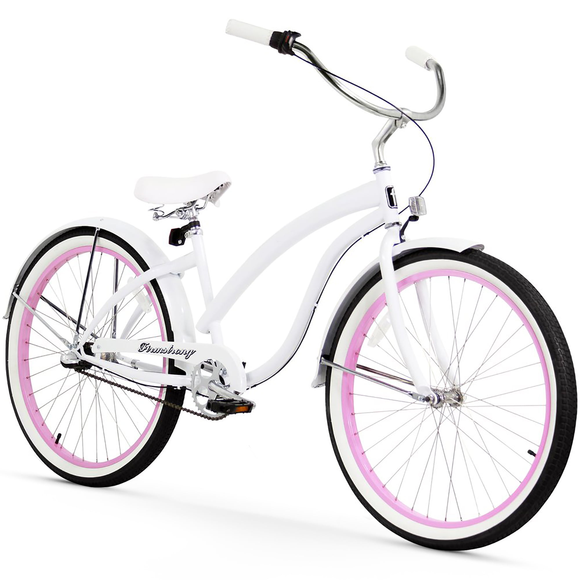 "Click here to buy 26"" Firmstrong Bella Fashionista Three Speed Women's Beach Cruiser Bicycle, Matte Black with Pink Rims by Supplier Generic."