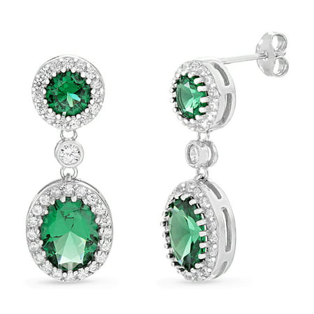 Inspired by You Oval and Round Cut Prong Set Simulated Emerald and Cubic Zirconia Drop Dangle Bridal Halo Earring for Women in Rhodium Plated 925 Sterling Silver
