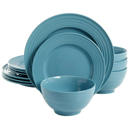 Plaza Cafe 12 pc Dinnerware Set - Turquoise - Solid Color - Stoneware - Turquoise Dish Set
