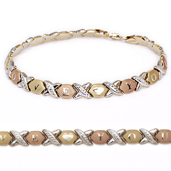 """10k Fine Gold Stampato Xoxo Hugs and Kisses """"I Love You"""" Chain Bracelet by Glad Gold"""