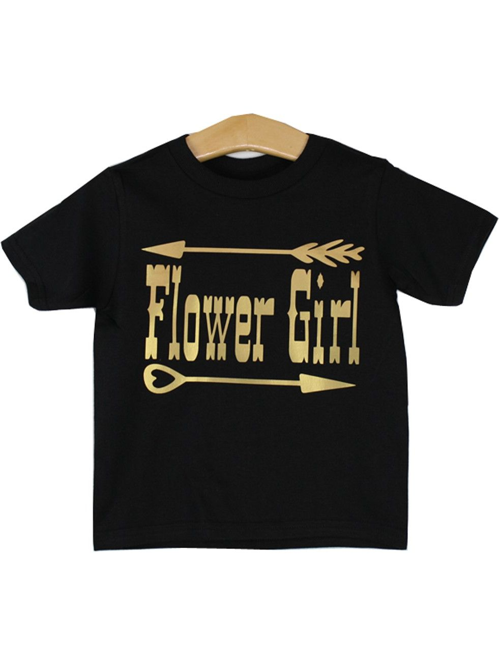 Gig Girls Black Flower Girl Print Short Sleeve T-Shirt