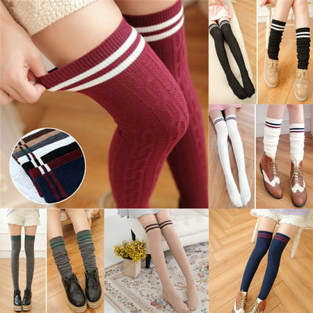 - New Women Knit Cotton Over The Knee Long Socks Striped Thigh High Stocking Socks