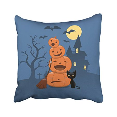 WinHome Decorative Pillowcases Halloween Pumpkins And Black Cat Outdoor Throw Pillow Covers Cases Cushion Cover Case Sofa 18x18 Inches Two Side (Halloween Pumpkins Black Cat)