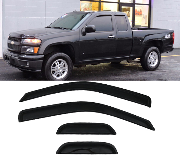 Outside Mount Window Visor 4 Pc Dark Smoke for 2004-2012 GMC Canyon Extended Cab