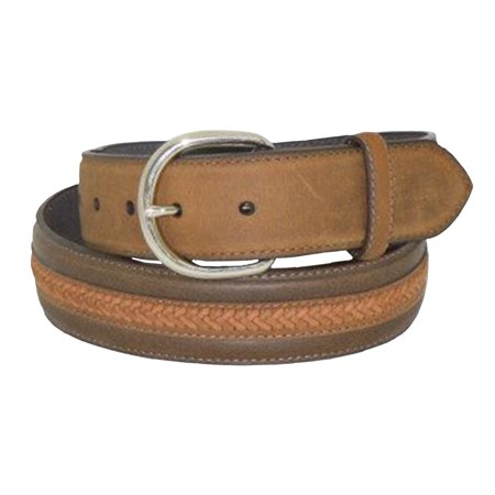 Nocona Mens Brown Basketweave Inlay Belt