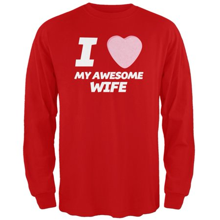 I Love My Awesome Wife Candy Heart Red Adult Long Sleeve T-Shirt - 2X-Large