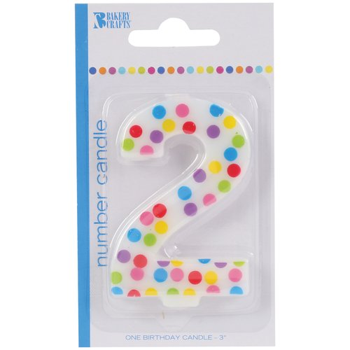 Bakery Crafts Polka Dot Birthday Candle, Number 2