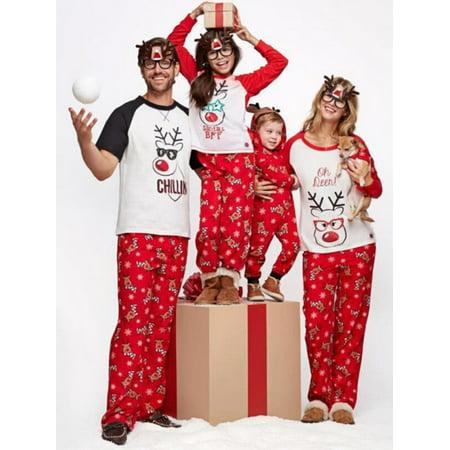Lavaport Family Pajamas Sets Christmas Deer Printed Sleepwear - Christmas Family Pajamas