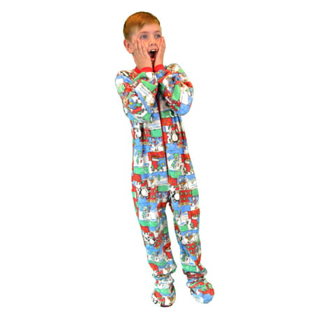 Kids Fleece Christmas One Piece Footed Pajamas Sleeper](Peace Fleece)
