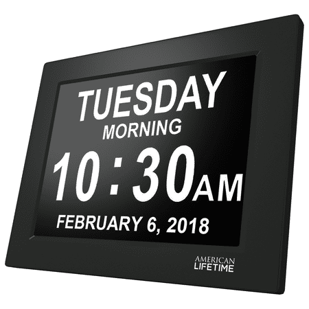 [Newest Version] American Lifetime Day Clock - Extra Large Impaired Vision Digital Clock with Battery Backup & 5 Alarm Options - Black (Electronic Backup Alarm)