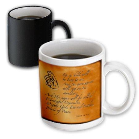 3dRose Isaiah 9 6 Bible verse predicting Jesus birth for Christmas engraved on copper background, Magic Transforming Mug, 11oz
