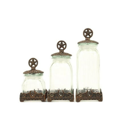 M f western canisters kitchen silverado glass star 942 - Western canisters for kitchen ...