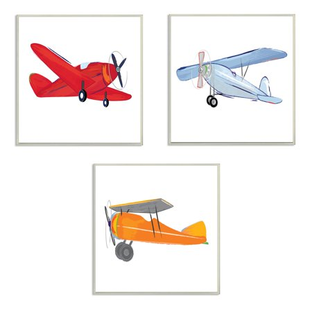 The Kids Room by Stupell Triple Colorful Airplanes Drawing 3pc Wall Plaque Art Set, 3pc, each 12 x 0.5 x 12