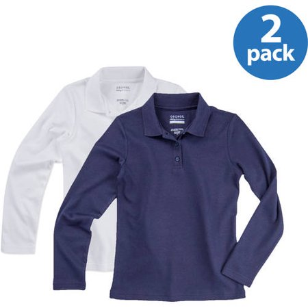 George Girls; School Uniforms, Long Sleeve Polo 2 Pack