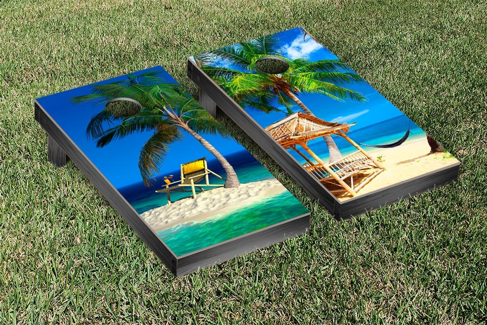 Tropical Beach Cornhole Game Set Version 1 by Victory Tailgate