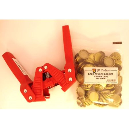 Red Baron Bottle Capper With Gold Oxygen Barrier Crown Caps-144