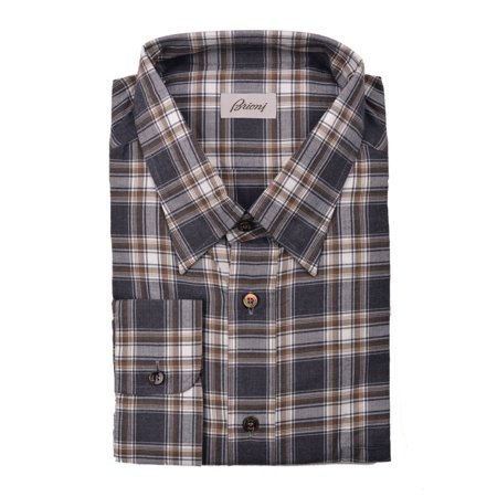 Brioni Dress Shirts (Brioni Mens Brown Grey Plaid Button Down Dress Shirt)