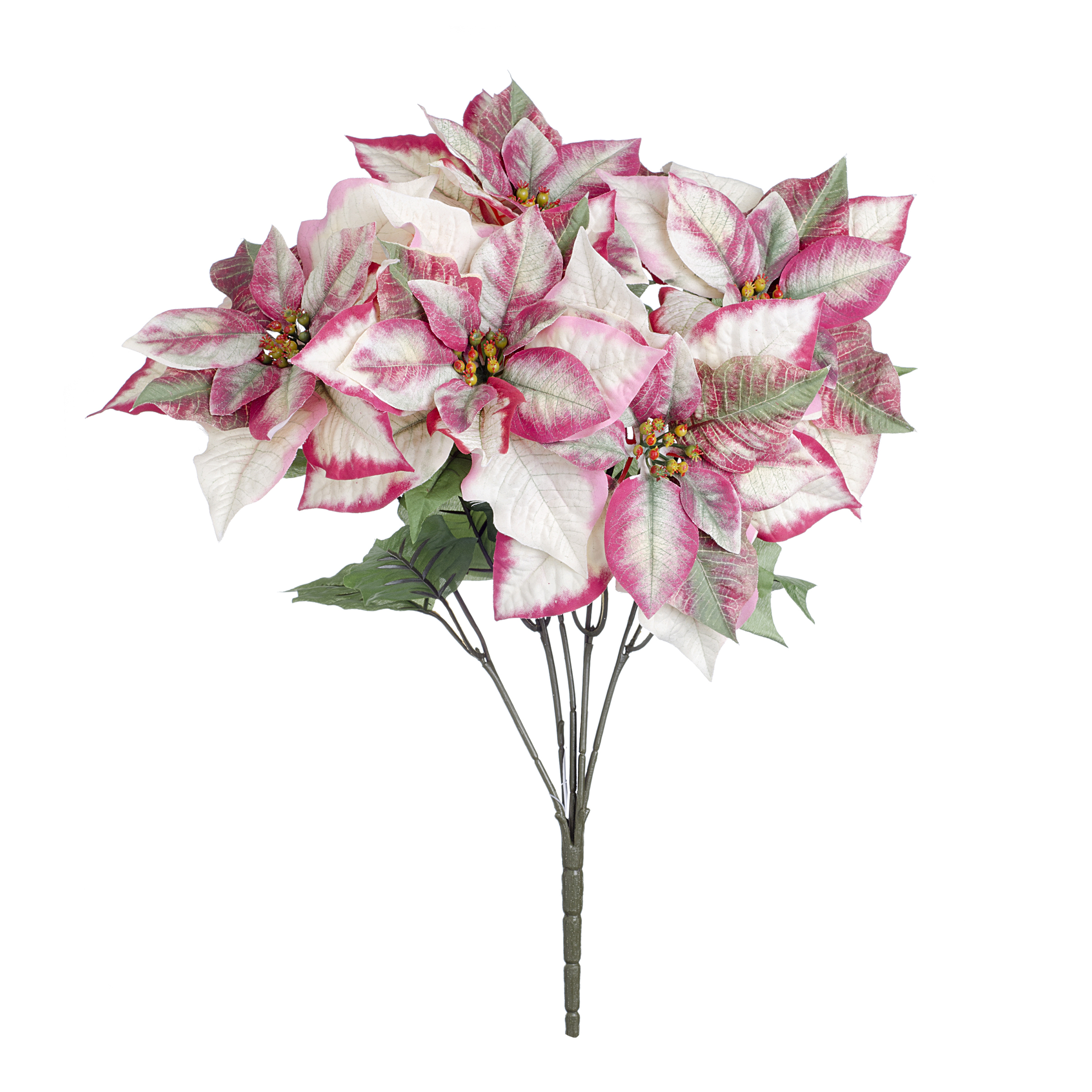 Poinsettia Decorative Bush White 4 X 19.5 Inches