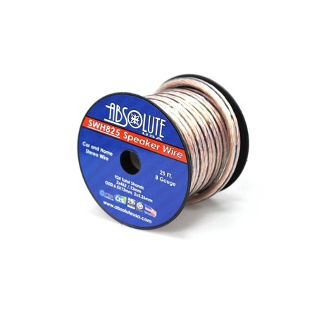 absolute usa swh825 8 gauge car home audio speaker wire cable spool 25 39. Black Bedroom Furniture Sets. Home Design Ideas