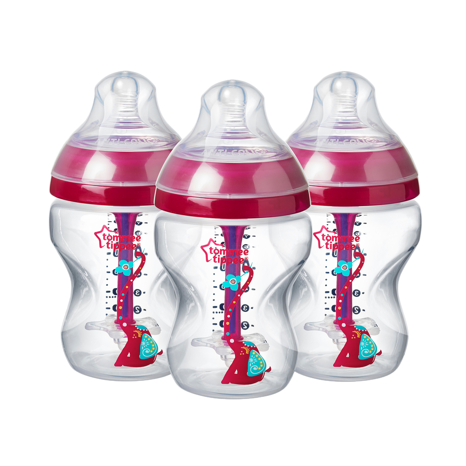 Tommee Tippee Advanced Anti-Colic Decorated Baby Bottles, Girl – 9 Ounce, Pink, 3 Count