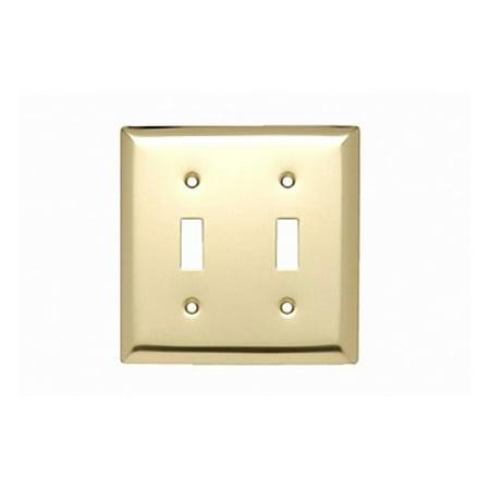Pass and Seymour SB2-PB Polished Brass Two Gang Toggle Light Switch Wall Plate