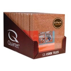 Quartet Natural Cork Tiles, 12 x 12 Inch, 8 Count