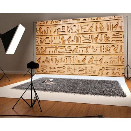 Stone Wall Plastic Backdrop (GreenDecor Polyster Photography Old Egypt Hieroglyphs Backdrop 7x5ft Carved Stone Wall Ancient Building Background Children Kids Shooting Props Video)