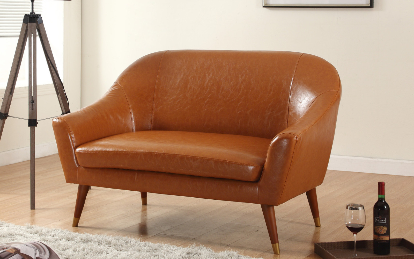 Mid Century Modern Bonded Leather Living Room Loveseat   Walmart.com